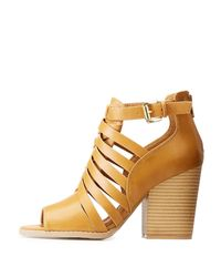 Charlotte Russe - Natural Peep Toe Caged Sandals - Lyst