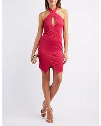 14698005653 Lyst - Charlotte Russe Halter Asymmetrical Bodycon Dress in Pink