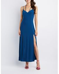 e6add668b3 Lyst - Charlotte Russe Strappy Double Slit Maxi Dress in Blue