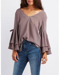 2fe83866b41 Lyst - Charlotte Russe Split Bell Sleeve Blouse in Purple