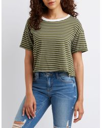 Charlotte Russe - Multicolor Striped Ringer Tee - Lyst