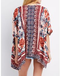 Charlotte Russe - Red Floral Border Print Kimono - Lyst