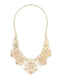 Charlotte Russe - Metallic Filigree Bib Necklace - Lyst