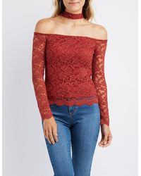 Charlotte Russe - Red Lace Floating Choker Neck Top - Lyst