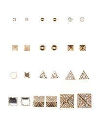 Charlotte Russe - Metallic Mixed Stud Earrings - 12 Pack - Lyst