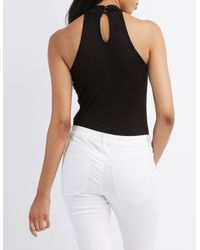 Charlotte Russe - Black Flawless Mock Neck Bodysuit - Lyst