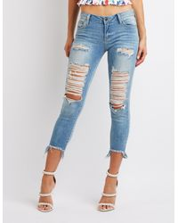 Charlotte Russe - Blue Cello Destroyed Skinny Jeans - Lyst