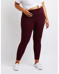 7a79c2be560a91 Lyst - Charlotte Russe Plus Size High Rise Leggings in Red