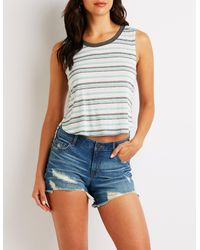 Charlotte Russe - Blue Striped High Low Tank Top - Lyst