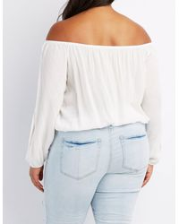 Charlotte Russe - White Plus Size Off-the-shoulder Split Sleeve Top - Lyst