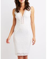 Charlotte Russe - White Eyelash Lace Bodycon Dress - Lyst