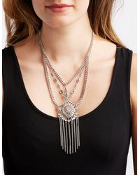 Charlotte Russe - Metallic Embellished Multichain Necklace - Lyst