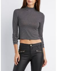 Charlotte Russe - Black Striped Mock Neck Crop Top - Lyst