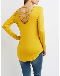 Charlotte Russe - Yellow Caged-back Scoop Neck Tee - Lyst