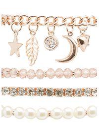 Charlotte Russe - Metallic Beaded, Charm & Chainlink Layering Bracelets - 5 Pack - Lyst