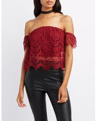 4d169a633fc3a8 Lyst - Charlotte Russe Crochet Off-the-shoulder Crop Top in Red