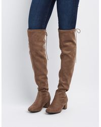 Charlotte Russe - Brown Over-the-knee Low Heel Boots - Lyst