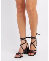 7c94b97b545 Lyst - Charlotte Russe Lace-up Block Heel Sandals in Black