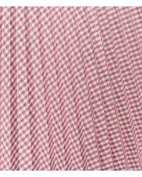 Christopher Kane - Pink Metallic Gingham Pleated Midi Skirt - Lyst