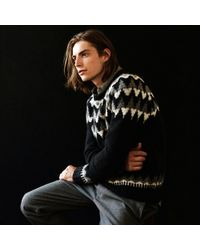 Club Monaco - Black Fair Isle Jacquard Crew for Men - Lyst