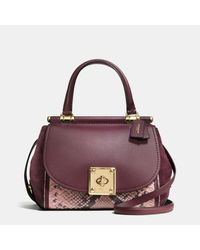 COACH | Red Drifter Top Handle Satchel In Colorblock Exotic Embossed Leather | Lyst