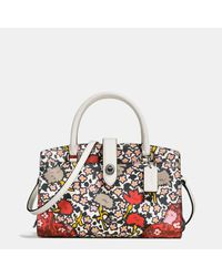 COACH | Multicolor Mercer Satchel 24 In Multi Floral Print Polished Pebble Leather | Lyst