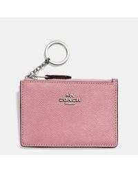 COACH | Pink Mini Skinny Id Case In Crossgrain Leather | Lyst