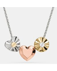 COACH | Metallic Short Daisy Rivet Heart Locket Necklace | Lyst