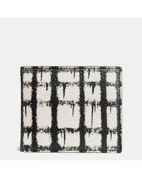 COACH | Black 3-in-1 Wallet In Pebble Leather With Wild Plaid Print for Men | Lyst