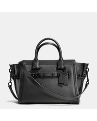 COACH | Black Swagger 15 Pebble Leather Satchel | Lyst