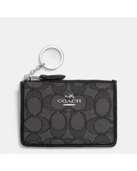 COACH | Black Mini Skinny Id Case In Signature Jacquard | Lyst