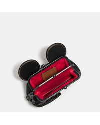 COACH - Black Mickey Kisslock Wristlet In Smooth Leather - Lyst