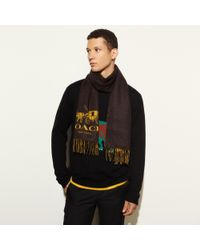 COACH - Black Bicolor Logo Scarf for Men - Lyst