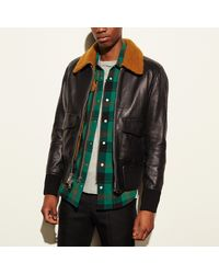 e0e88b2617b Lyst - COACH Washed Leather Aviator Bomber Jacket in Black for Men