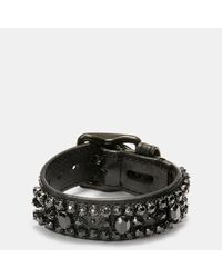 COACH | Black Wide Leather Encrusted Crystal Bracelet | Lyst