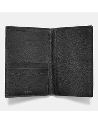 COACH - Black Passport Case In Refined Pebble Leather for Men - Lyst