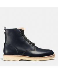 COACH - Blue Derby Boot With Shearling for Men - Lyst