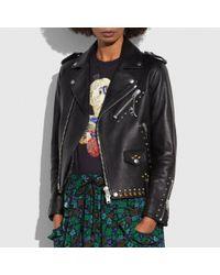 COACH | Black Western Rivets Moto Jacket | Lyst