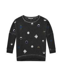 Scotch & Soda - Black Dropped Shoulder Moon Print Sweater - Lyst