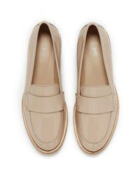 HUGO - Natural Women's Britishp Leather Heeled Loafers - Lyst