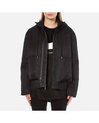 DKNY | Black Women's Long Sleeve Short Hooded Downfill Puffer Coat With Double Layer | Lyst