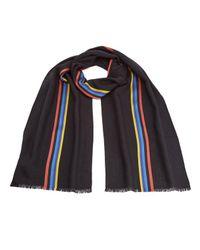 Paul Smith | Blue Men's Central Stripe Wool Scarf for Men | Lyst