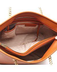 MICHAEL Michael Kors - Brown Women's Jet Set Travel Chain Top Zip Tote Bag - Lyst