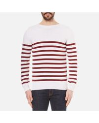A.P.C. | Red Men's Pull Lord Stripe Knitted Jumper for Men | Lyst