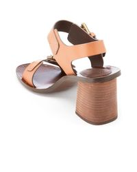 See By Chloé | Brown Buckle Leather Heeled Sandals | Lyst