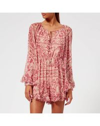 b8cec1740fd Zimmermann Castile Flared Sleeve Playsuit in Red - Lyst