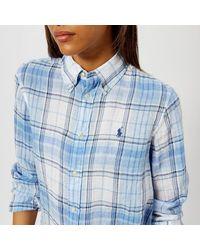 Polo Ralph Lauren - Blue Women's Logo Checked Linen Shirt - Lyst