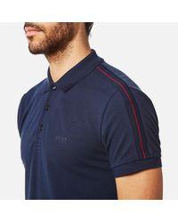 BOSS Green - Blue Men's Paule Sleeve Logo Polo Shirt for Men - Lyst