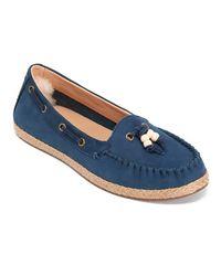 Ugg - Blue Women's Suzette Nubuck Moccasin Shoes - Lyst