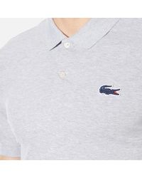 Lacoste - Gray Men's Large Croc Logo Polo Shirt for Men - Lyst
